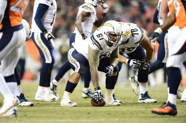 Dec 12, 2013; Denver, CO, USA; San Diego Chargers center Nick Hardwick (61) at the line of scrimmage in the second quarter against the Denver Broncos at Sports Authority Field at Mile High. Mandatory Credit: Ron Chenoy-USA TODAY Sports