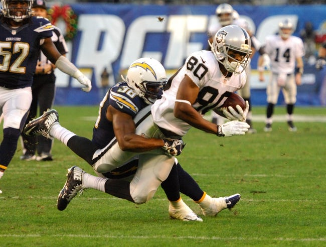 Dec 22, 2013; San Diego, CA, USA; Oakland Raiders receiver Rod Streater (80) is tackled by San Diego Chargers safety Marcus Gilchrist (38) at Qualcomm Stadium. Mandatory Credit: Kirby Lee-USA TODAY Sports