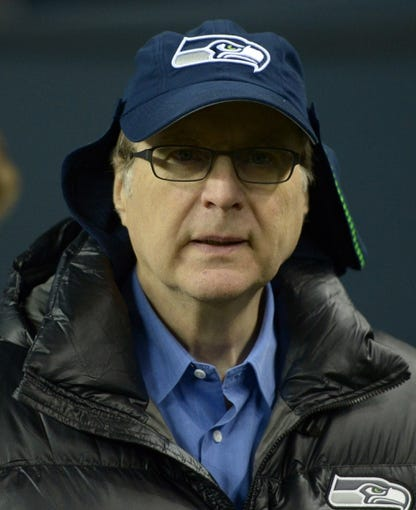 Dec 2, 2013; Seattle, WA, USA; Seattle Seahawks owner Paul Allen attends the game against the New Orleans Saints at CenturyLink Field. The Seahawks defeated the Saints 34-7. Mandatory Credit: Kirby Lee-USA TODAY Sports