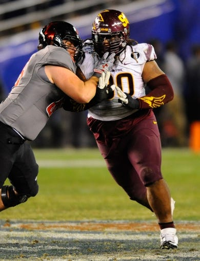 Dec 30, 2013; San Diego, CA, USA; Arizona State Sun Devils defensive tackle Will Sutton (90) during the second half against the Texas Tech Red Raiders in the Holiday Bowl at Qualcomm Stadium. Texas Tech won 37-23. Mandatory Credit: Christopher Hanewinckel-USA TODAY Sports
