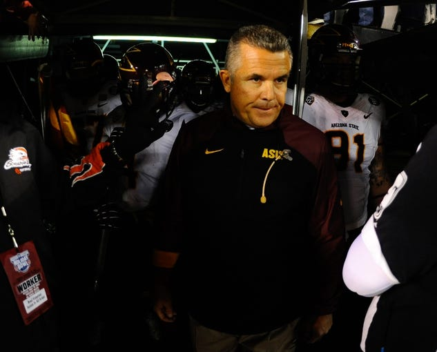 Dec 30, 2013; San Diego, CA, USA; Arizona State Sun Devils head coach Todd Graham prior to the game against the Texas Tech Red Raiders during the first half in the Holiday Bowl at Qualcomm Stadium. Mandatory Credit: Christopher Hanewinckel-USA TODAY Sports