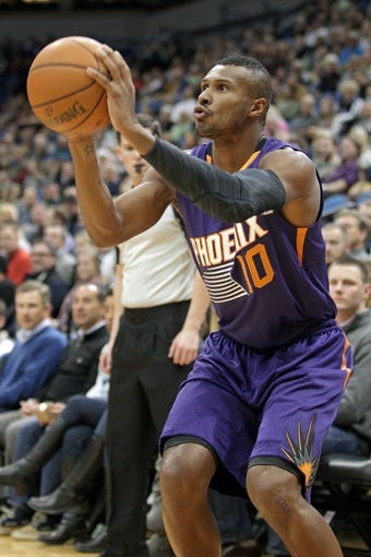 Jan 8, 2014; Minneapolis, MN, USA; Phoenix Suns guard Leandro Barbosa (10) against the Minnesota Timberwolves at Target Center. The Suns defeated the Timberwolves 104-103. Mandatory Credit: Brace Hemmelgarn-USA TODAY Sports