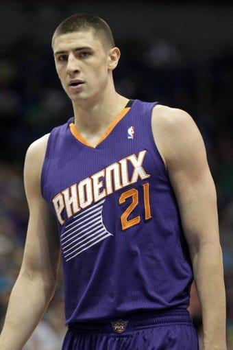 Jan 8, 2014; Minneapolis, MN, USA; Phoenix Suns center Alex Len (21) against the Minnesota Timberwolves at Target Center. The Suns defeated the Timberwolves 104-103. Mandatory Credit: Brace Hemmelgarn-USA TODAY Sports