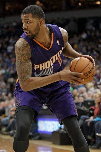 Jan 8, 2014; Minneapolis, MN, USA; Phoenix Suns forward Markieff Morris (11) against the Minnesota Timberwolves at Target Center. The Suns defeated the Timberwolves 104-103. Mandatory Credit: Brace Hemmelgarn-USA TODAY Sports