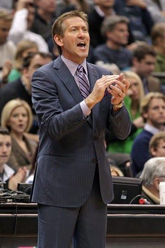 Jan 8, 2014; Minneapolis, MN, USA; Phoenix Suns head coach Jeff Hornacek against the Minnesota Timberwolves at Target Center. The Suns defeated the Timberwolves 104-103. Mandatory Credit: Brace Hemmelgarn-USA TODAY Sports