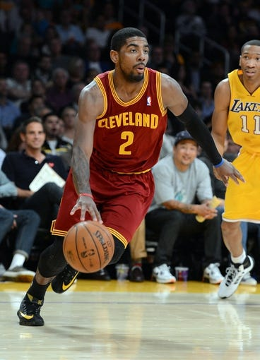 Jan 14, 2014; Los Angeles, CA, USA; Cleveland Cavaliers point guard Kyrie Irving (2) in the first half of the game against the Los Angeles Lakers at Staples Center. Mandatory Credit: Jayne Kamin-Oncea-USA TODAY Sports