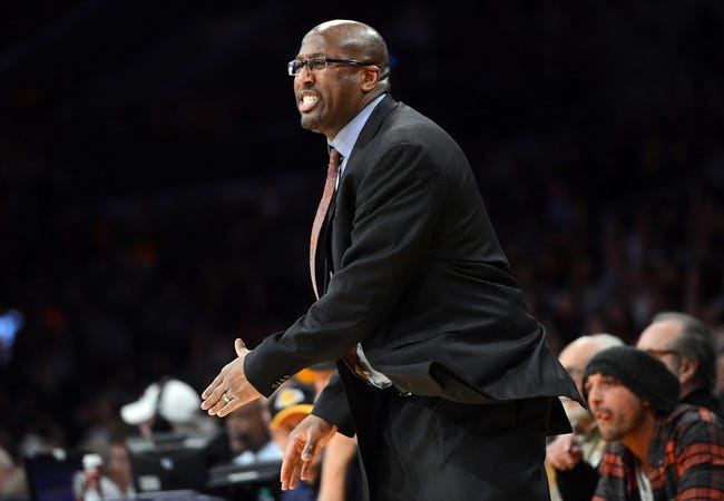 Jan 14, 2014; Los Angeles, CA, USA; Cleveland Cavaliers head coach Mike Brown in the second half of the game against the Los Angeles Lakers at Staples Center. Cleveland Cavaliers won 120-118. Mandatory Credit: Jayne Kamin-Oncea-USA TODAY Sports