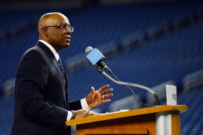 Jan 15, 2014; Detroit, MI, USA; Detroit Lions general manager Martin Mayhew speaks during press conference at Ford Field. Mandatory Credit: Andrew Weber-USA TODAY Sports