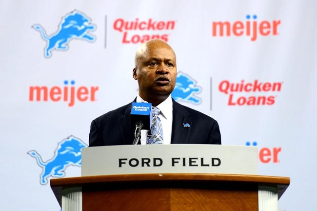 Jan 15, 2014; Detroit, MI, USA; Detroit Lions head coach Jim Caldwell speaks during a press conference at Ford Field. Mandatory Credit: Andrew Weber-USA TODAY Sports