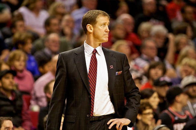 Jan 15, 2014; Portland, OR, USA; Portland Trail Blazers head coach Terry Stotts watches the action during the second quarter against the Cleveland Cavaliers at the Moda Center. Mandatory Credit: Craig Mitchelldyer-USA TODAY Sports