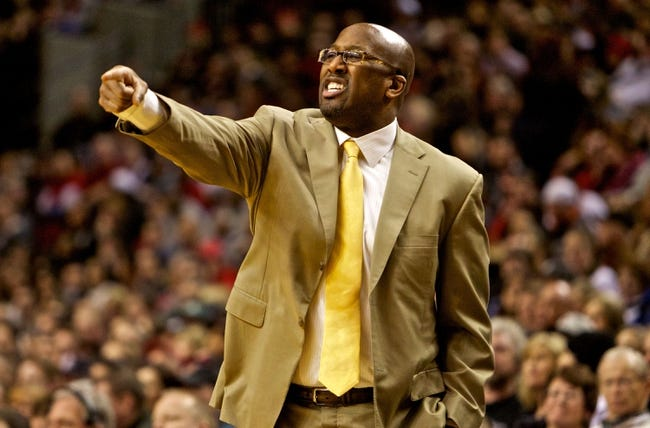 Jan 15, 2014; Portland, OR, USA; Cleveland Cavaliers head coach Mike Brown points during the second quarter against the Portland Trail Blazers at the Moda Center. Mandatory Credit: Craig Mitchelldyer-USA TODAY Sports