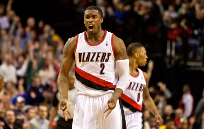 Jan 15, 2014; Portland, OR, USA; Portland Trail Blazers shooting guard Wesley Matthews (2) reacts after scoring in the fourth quarter against the Cleveland Cavaliers at the Moda Center. Mandatory Credit: Craig Mitchelldyer-USA TODAY Sports