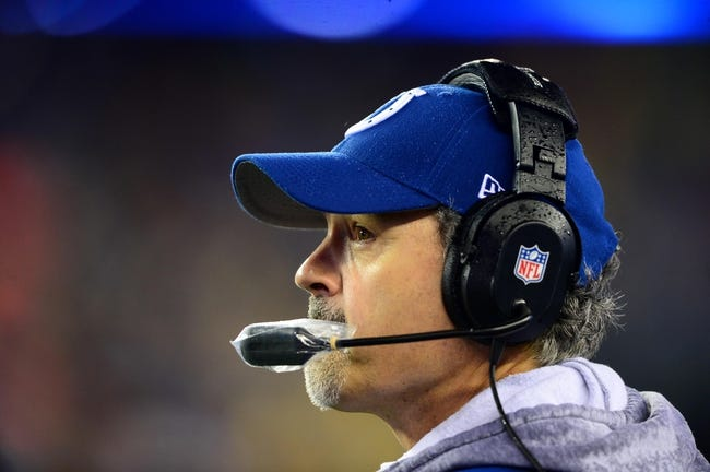 Jan 11, 2014; Foxborough, MA, USA; Indianapolis Colts head coach Chuck Pagano during the 2013 AFC divisional playoff football game against the New England Patriots at Gillette Stadium. Mandatory Credit: Andrew Weber-USA TODAY Sports