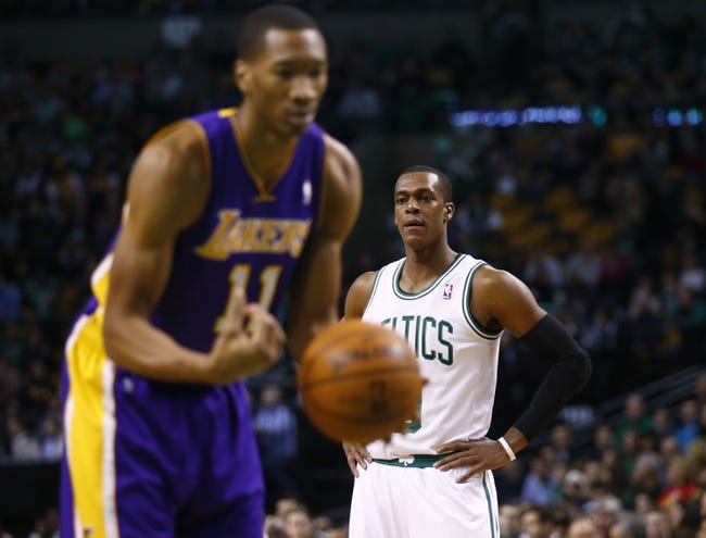 Jan 17, 2014; Boston, MA, USA; Boston Celtics point guard Rajon Rondo (9) on the court against the Los Angeles Lakers in the first quarter at TD Garden. Mandatory Credit: David Butler II-USA TODAY Sports