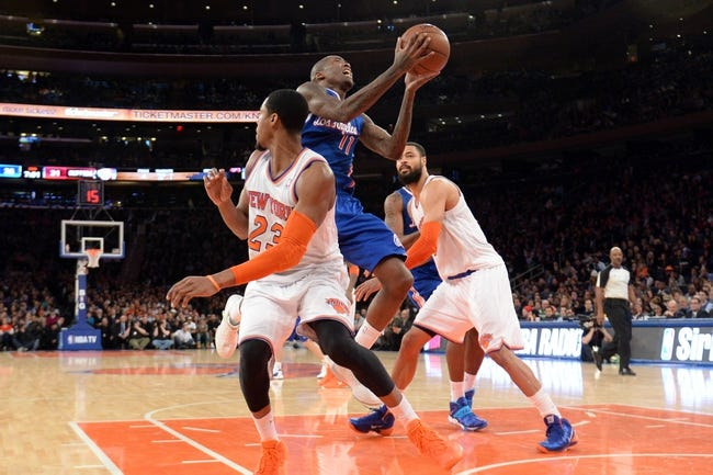 Jan 17, 2014; New York, NY, USA; Los Angeles Clippers shooting guard Jamal Crawford (11) goes up for a layup against the New York Knicks during the first half at Madison Square Garden. The Los Angeles Clippers won 109-94. Mandatory Credit: Joe Camporeale-USA TODAY Sports