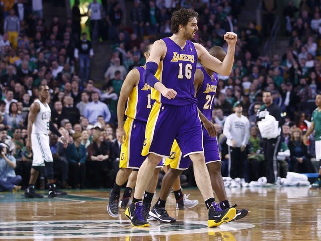 Jan 17, 2014; Boston, MA, USA; Los Angeles Lakers center Pau Gasol (16) reacts after a play against the Boston Celtics in the second half at TD Garden. The Los Angeles Lakers defeated the Celtics 107-104. Mandatory Credit: David Butler II-USA TODAY Sports
