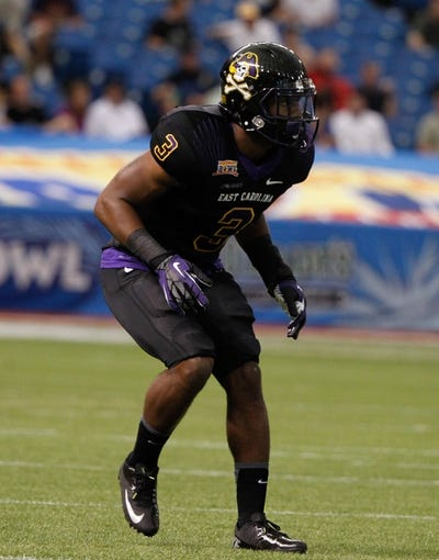 Dec 23, 2013; St. Petersburg, FL, USA; East Carolina Pirates defensive back Adonis Armstrong (3) against the Ohio Bobcats during the first quarter at the 2013 Beef O Bradys Bowl at Tropicana Field. Mandatory Credit: Kim Klement-USA TODAY Sports