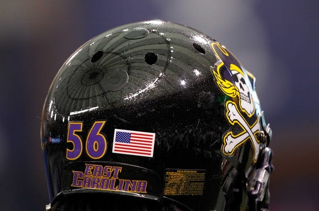 Dec 23, 2013; St. Petersburg, FL, USA; A detailed view of East Carolina Pirates linebacker Derrell Johnson (56) helmet with a refection of the dome prior to the game during the 2013 Beef O Bradys Bowl at Tropicana Field. Mandatory Credit: Kim Klement-USA TODAY Sports