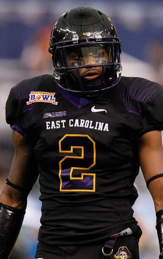 Dec 23, 2013; St. Petersburg, FL, USA; East Carolina Pirates wide receiver Justin Hardy (2) against the Ohio Bobcats during the first quarter at the 2013 Beef O Bradys Bowl at Tropicana Field. Mandatory Credit: Kim Klement-USA TODAY Sports
