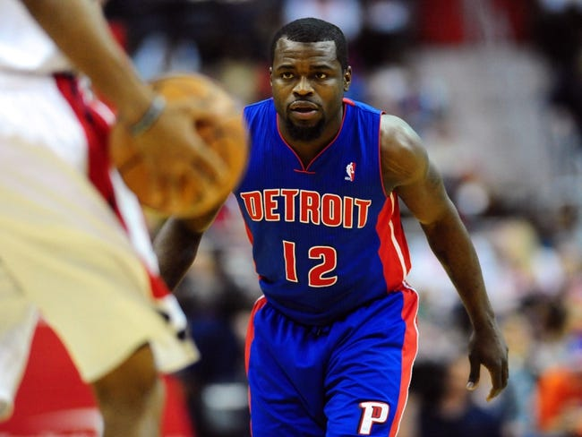 Jan 18, 2014; Washington, DC, USA; Detroit Pistons guard Will Bynum (12) plays defense during the game against the Washington Wizards at Verizon Center. Mandatory Credit: Evan Habeeb-USA TODAY Sports