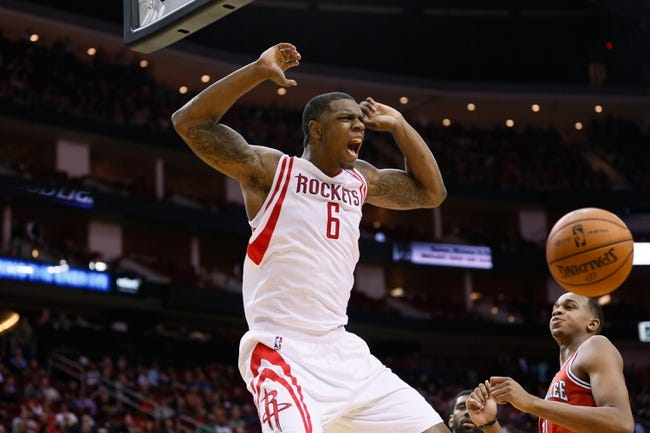 Jan 18, 2014; Houston, TX, USA; Houston Rockets forward Terrence Jones (6) reacts after a dunk during the first half against the Milwaukee Bucks at Toyota Center. Mandatory Credit: Soobum Im-USA TODAY Sports