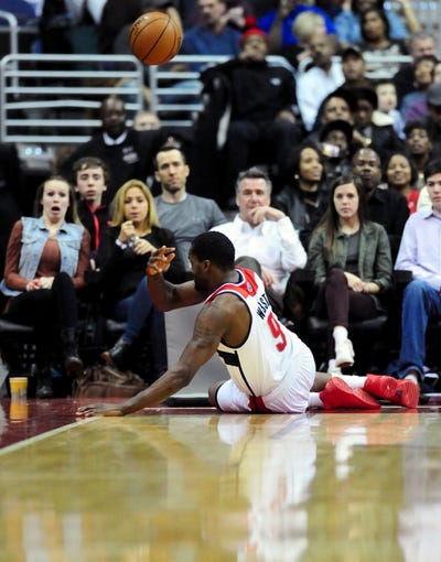 Jan 18, 2014; Washington, DC, USA; Washington Wizards forward Martell Webster (9) saves the ball from going out of bounds during the game against the Detroit Pistons at Verizon Center. Mandatory Credit: Evan Habeeb-USA TODAY Sports