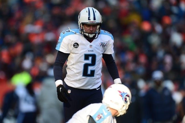 Dec 8, 2013; Denver, CO, USA; Tennessee Titans kicker Rob Bironas (2) prepares to kick in the second quarter against the Denver Broncos at Sports Authority Field at Mile High. Mandatory Credit: Ron Chenoy-USA TODAY Sports