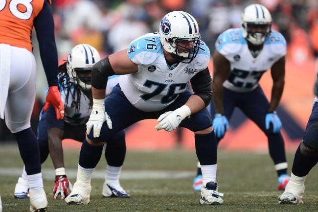 Dec 8, 2013; Denver, CO, USA; Tennessee Titans tackle David Stewart (76) in the second quarter against the Denver Broncos at Sports Authority Field at Mile High. Mandatory Credit: Ron Chenoy-USA TODAY Sports