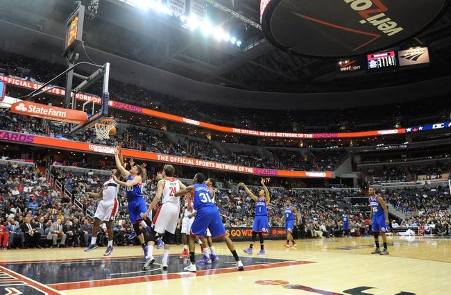 Jan 20, 2014; Washington, DC, USA; General view of action during the Washington Wizards and Philadelphia 76ers game during the second half at Verizon Center. The Wizards defeated the 76ers 107 - 99. Mandatory Credit: Brad Mills-USA TODAY Sports