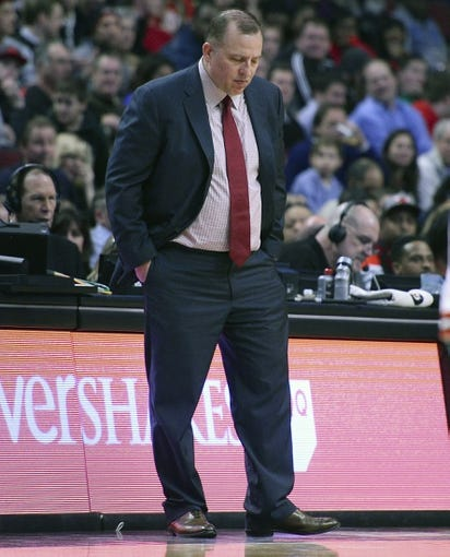 Jan 20, 2014; Chicago, IL, USA; Chicago Bulls head coach Tom Thibodeau reacts after a play against the Los Angeles Lakers during the first half at United Center. Mandatory Credit: Mike DiNovo-USA TODAY Sports