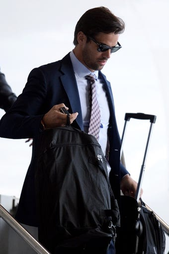Jan 26, 2014; Newark, NJ, USA; Denver Broncos wide receiver Eric Decker arrives at Newark Liberty International Airport to face the Seattle Seahawks in Super Bowl XLVIII . Mandatory Credit: Joe Camporeale-USA TODAY Sports