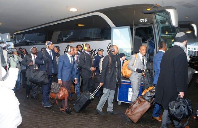 Jan 26, 2014; Jersey City, NJ, USA;  Denver Broncos arrive at Hyatt Hotel. Mandatory Credit: Jim O'Connor-USA TODAY Sports