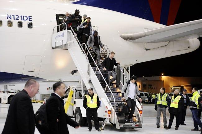 Jan 26, 2014; Newark, NJ, USA; The Seattle Seahawks arrive at Newark Liberty International Airport to face the Denver Broncos in Super Bowl XLVIII. Mandatory Credit: Joe Camporeale-USA TODAY Sports