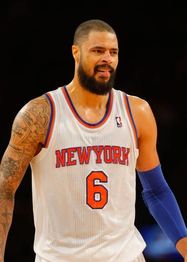 Jan 22, 2014; New York, NY, USA;  New York Knicks center Tyson Chandler (6) at Madison Square Garden. Philadelphia 76ers defeat the New York Knicks 110-105. Mandatory Credit: Jim O'Connor-USA TODAY Sports