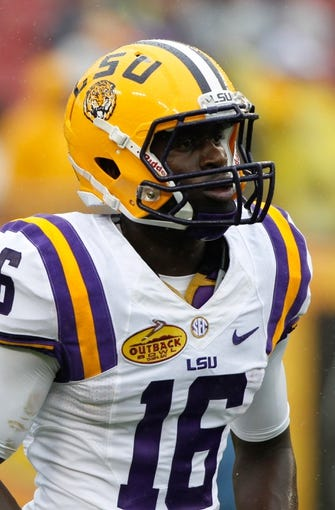 Jan 1, 2014; Tampa, Fl, USA; LSU Tigers defensive back Tre'Davious White (16) prior to the game against the Iowa Hawkeyes at Raymond James Stadium. Mandatory Credit: Kim Klement-USA TODAY Sports
