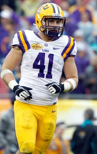 Jan 1, 2014; Tampa, Fl, USA; LSU Tigers tight end Travis Dickson (41) during the first half against the Iowa Hawkeyes at Raymond James Stadium. Mandatory Credit: Kim Klement-USA TODAY Sports