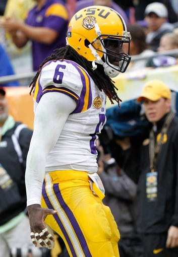 Jan 1, 2014; Tampa, Fl, USA; LSU Tigers safety Craig Loston (6) against the Iowa Hawkeyes during the second half at Raymond James Stadium. LSU Tigers defeated the Iowa Hawkeyes 21-14. Mandatory Credit: Kim Klement-USA TODAY Sports
