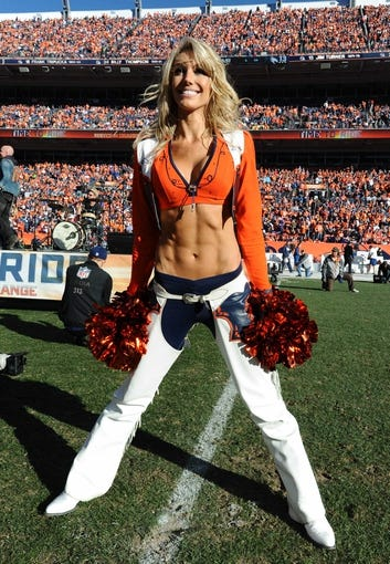January 19, 2014; Denver, CO, USA; Denver Broncos cheerleader performs during a halftime break against the New England Patriots in the 2013 AFC Championship football game at Sports Authority Field at Mile High. Mandatory Credit: Ron Chenoy-USA TODAY Sports