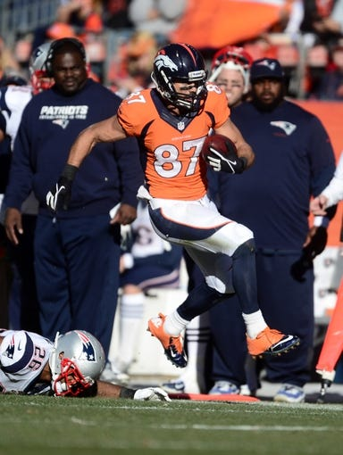 January 19, 2014; Denver, CO, USA; Denver Broncos wide receiver Eric Decker (87) runs after a reception against the New England Patriots in the first half of the 2013 AFC Championship football game at Sports Authority Field at Mile High. Mandatory Credit: Ron Chenoy-USA TODAY Sports