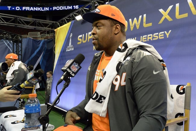 Jan 28, 2014; Newark, NJ, USA; Denver Broncos defensive tackle Terrance Knighton (94) speaks to the media during Media Day for Super Bowl XLVIII at Prudential Center. Mandatory Credit: Robert Deutsch-USA TODAY Sports