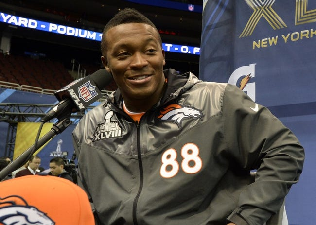 Jan 28, 2014; Newark, NJ, USA; Denver Broncos wide receiver Demaryius Thomas speaks to the media during Media Day for Super Bowl XLVIII at Prudential Center. Mandatory Credit: Robert Deutsch-USA TODAY Sports