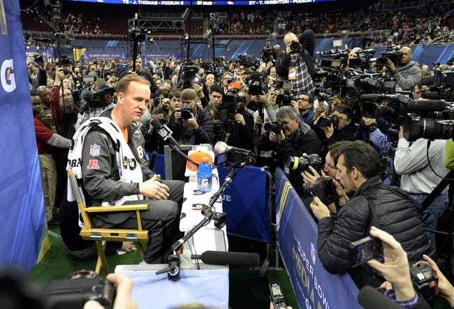 Jan 28, 2014; Newark, NJ, USA; Denver Broncos quarterback Peyton Manning speaks to the media during Media Day for Super Bowl XLVIII at Prudential Center. Mandatory Credit: Robert Deutsch-USA TODAY Sports