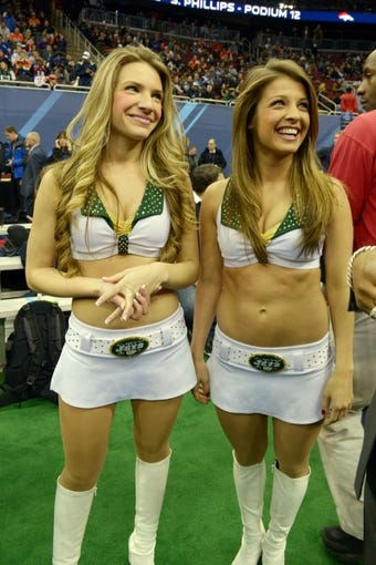 Jan 28, 2014; Newark, NJ, USA; New York Jets cheerleaders during Media Day for Super Bowl XLIII at Prudential Center. Mandatory Credit: Kirby Lee-USA TODAY Sports