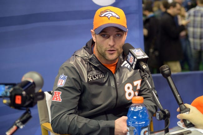 Jan 28, 2014; Newark, NJ, USA; Denver Broncos wide receiver Wes Welker (83) is interviewed during Media Day for Super Bowl XLIII at Prudential Center. Mandatory Credit: Kirby Lee-USA TODAY Sports