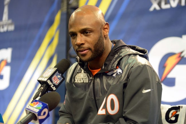 Jan 28, 2014; Newark, NJ, USA; Denver Broncos free safety Mike Adams (20) is interviewed during Media Day for Super Bowl XLIII at Prudential Center. Mandatory Credit: Kirby Lee-USA TODAY Sports