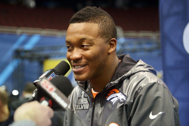 Jan 28, 2014; Newark, NJ, USA; Denver Broncos wide receiver Demaryius Thomas (88) is interviewed during Media Day for Super Bowl XLIII at Prudential Center. Mandatory Credit: Kirby Lee-USA TODAY Sports