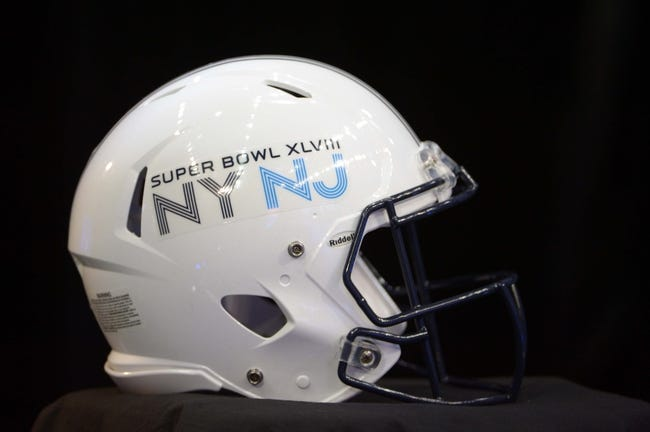 Jan 28, 2014; Newark, NJ, USA; A view of the Super Bowl logo on a helmet during Media Day for Super Bowl XLIII at Prudential Center. Mandatory Credit: Kirby Lee-USA TODAY Sports