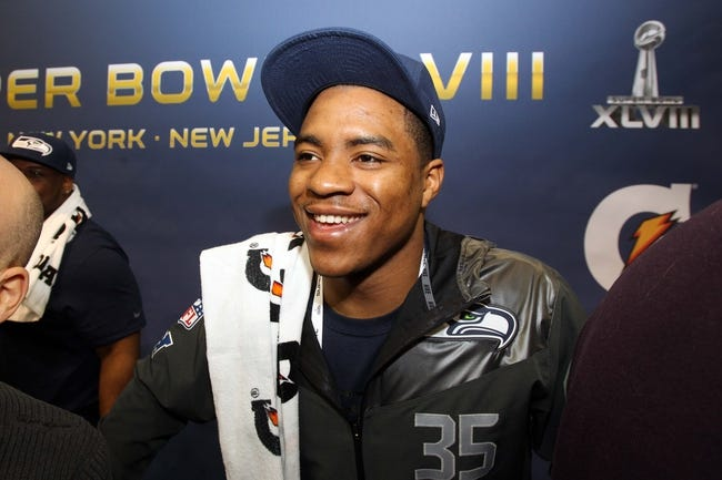 Jan 28, 2014; Newark, NJ, USA; Seattle Seahawks defensive back DeShawn Shead is interviewed during Media Day for Super Bowl XLIII at Prudential Center. Mandatory Credit: Brad Penner-USA TODAY Sports