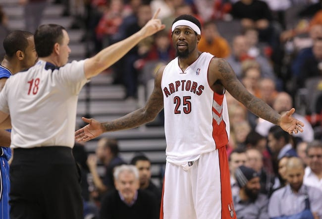 Jan 29, 2014; Toronto, Ontario, CAN; Toronto Raptors forward John Salmons (25) reacts to a foul called by official Matt Boland (18) against the Orlando Magic at Air Canada Centre. The Raptors beat the Magic 98-83. Mandatory Credit: Tom Szczerbowski-USA TODAY Sports