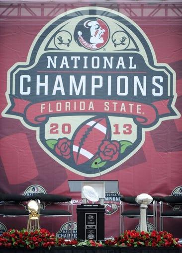 Feb 1, 2014; Tallahassee, FL, USA; The trophies on display during the Florida State Seminoles BCS National Championship Celebration at Doak Campbell Stadium. Mandatory Credit: Melina Vastola-USA TODAY Sports